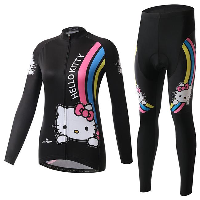 Черный кот радуга велосипед с длинным рукавом Radfahren Ciclismo велоспорт-джерси Cyclisme одевать брюки для женщин