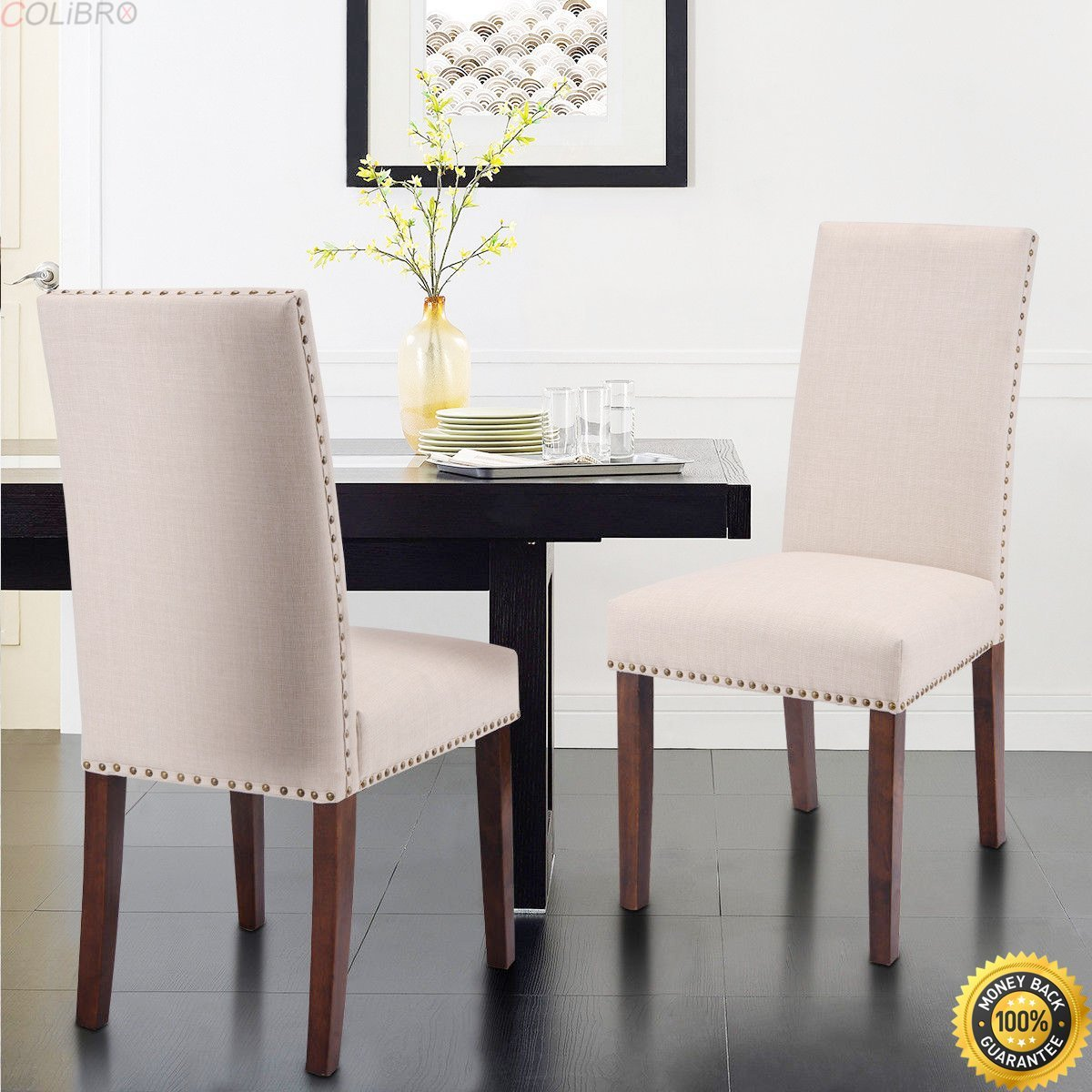 1869a437afa4 COLIBROX--Set of 2 Metal Dining Chairs Upholstered Home Kitchen Side Chair  Furniture New