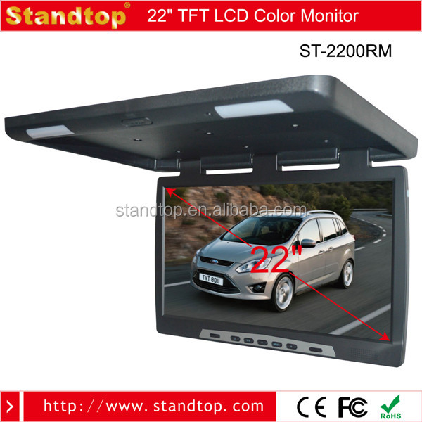 22 inch TFT LCD roof mount hdmi monitor flip down monitor