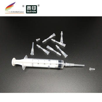 (ACC-41) 10 adapters + 1 syringe plastic Ink Cartridge Refill Suction tool needle Tip Adapter for ink cartridges