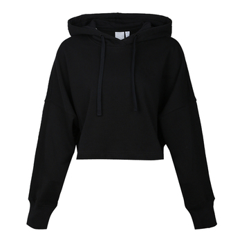 Wholesale Pullover Hooded French Terry Breathable Gym Running Crop Short Women Black Hoodie with your Logo