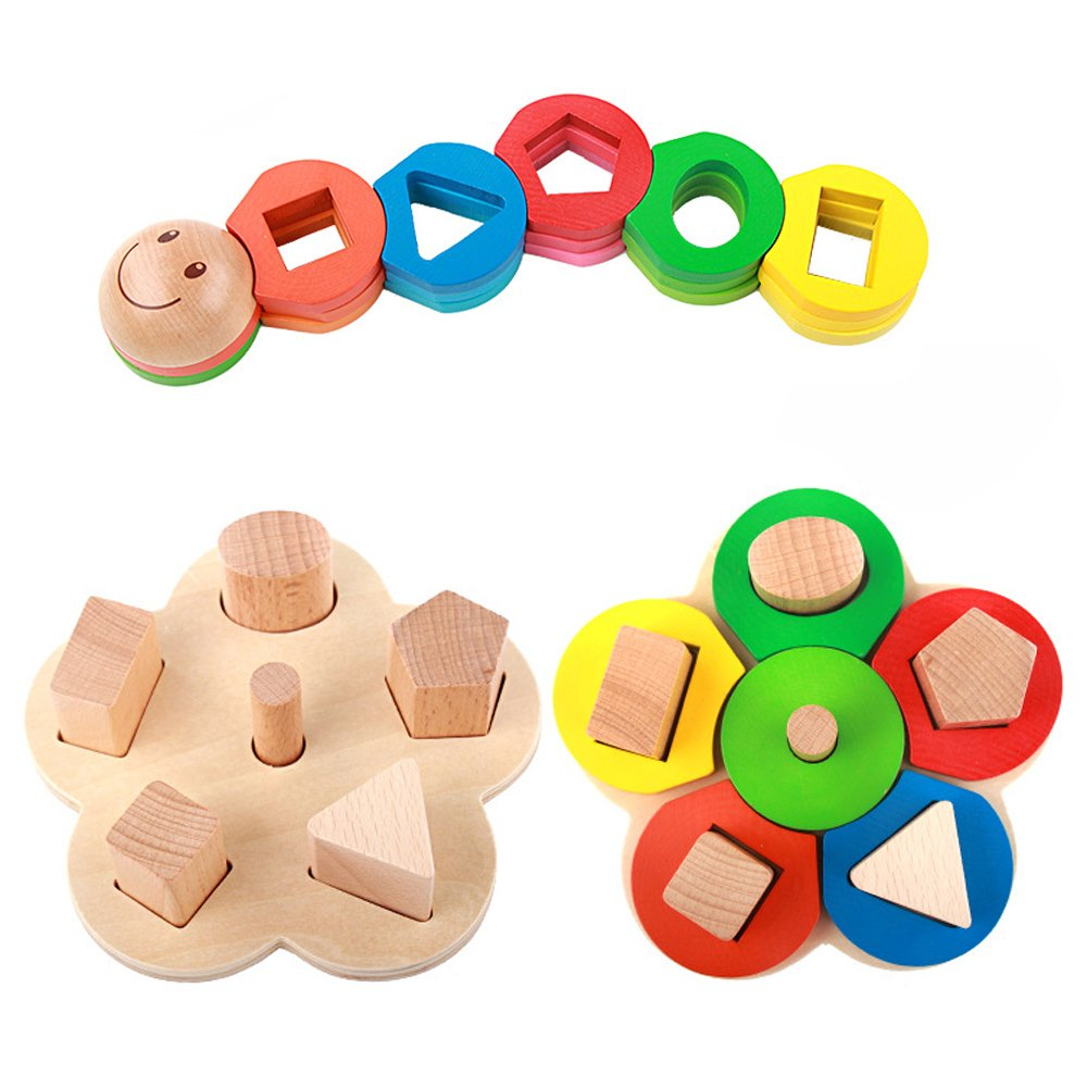 4ae1ecc76b99 ... Recognition Geometric Board Block Stack Sort Chunky Puzzle Toys