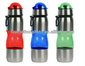 straw plastic space water bottle with stainless steel lid and bottom for promotion CHEAP and HIGH QUALITY