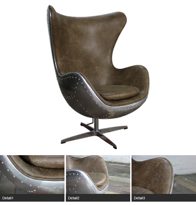 China Furniture Hand Crafted Aluminium Rivited Back Aviator Egg Chair