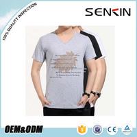 Wholesale V neck Cotton stretch T shirt in Guangzhou Custom Silk Screen Pinetd T Shirts Free Sample OEM