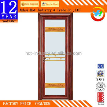 Wooden Color Aluminum Frame Single Glazing Door Glass With Beautiful ...