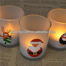 latest mini Santa Clause frosted candle holder for Christmas