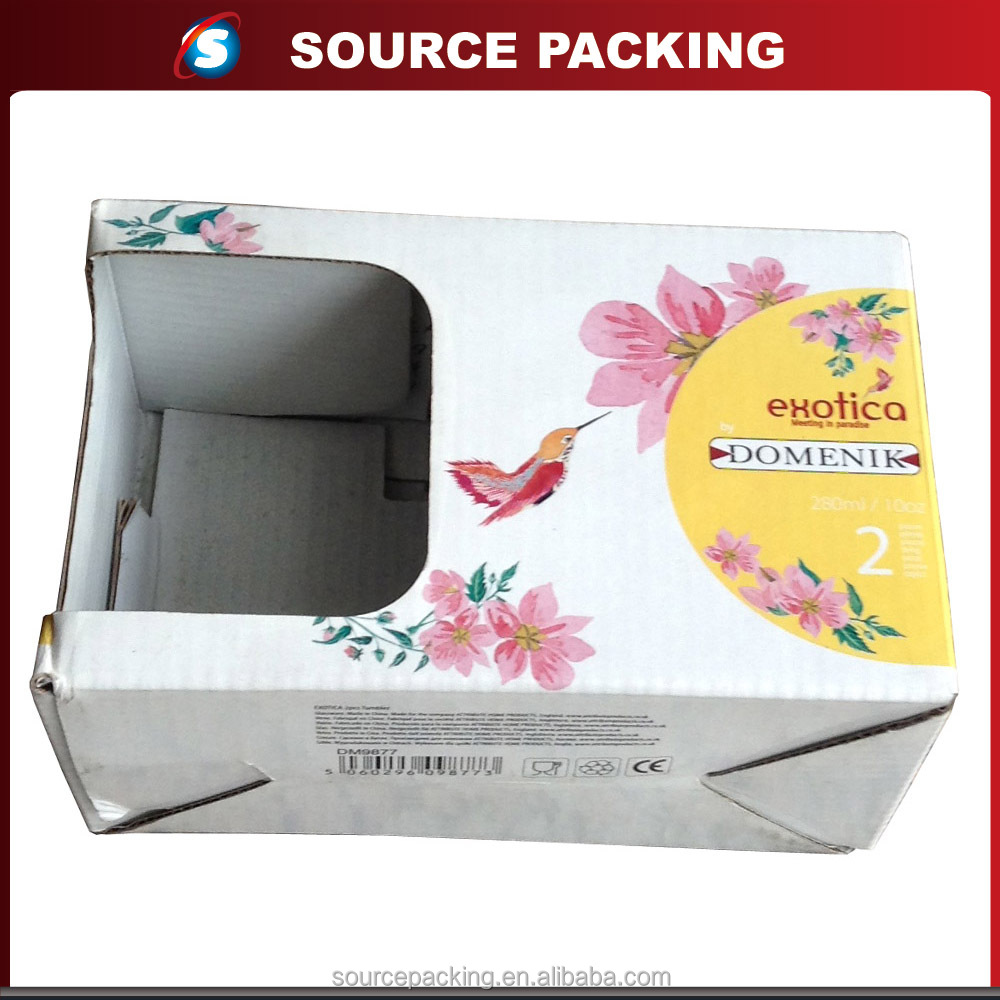 Paper printed cardboard window packaging box for tea cups with auto lock bottom