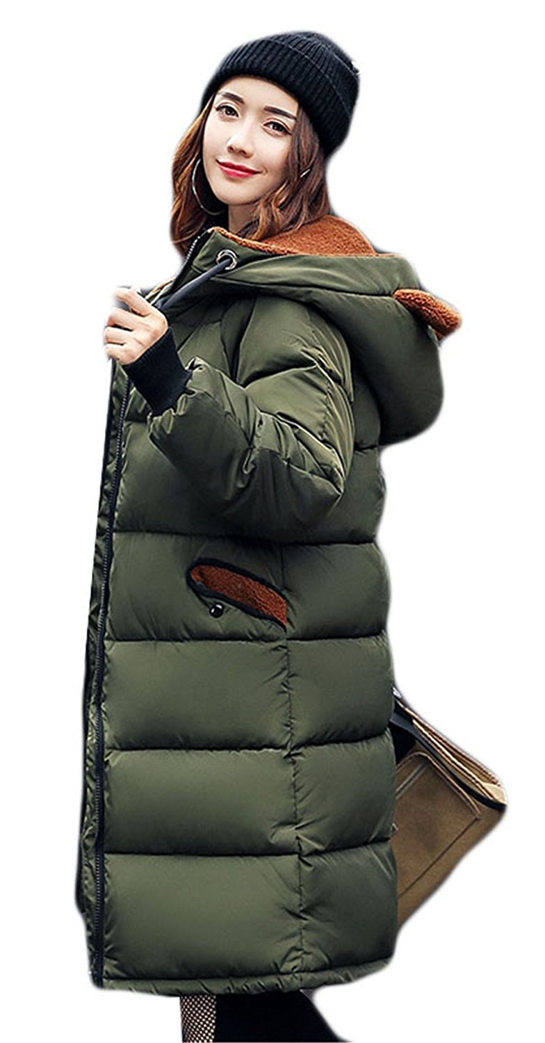 Womens Winter Warm Bear Hooded Camouflage Printed Loose Long Thicken Cotton Down Coat