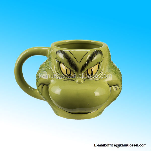 Dr. Seuss Grinch Sculpted 18-Ounce Ceramic Coffee Mug