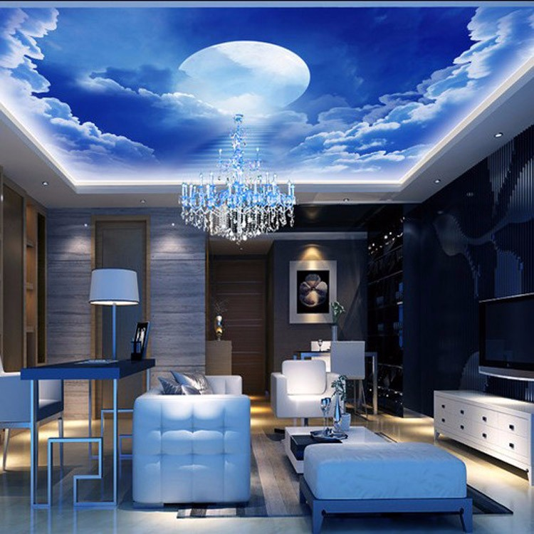 Cool And Bright Interior Design Exterior Wall Murals Starry Night Sky  Wallpaper Decoration Part 55