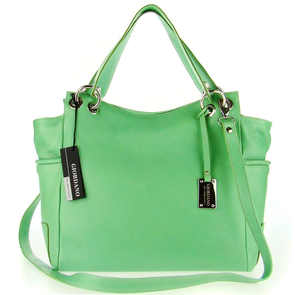 Get Quotations · GIORDANO Italian Made Green Leather Large Designer Shopper Tote  Handbag 3a20d5b78d662