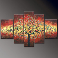 Large size two three four five panels tree flower landscape 100% handmade canvas oil painting