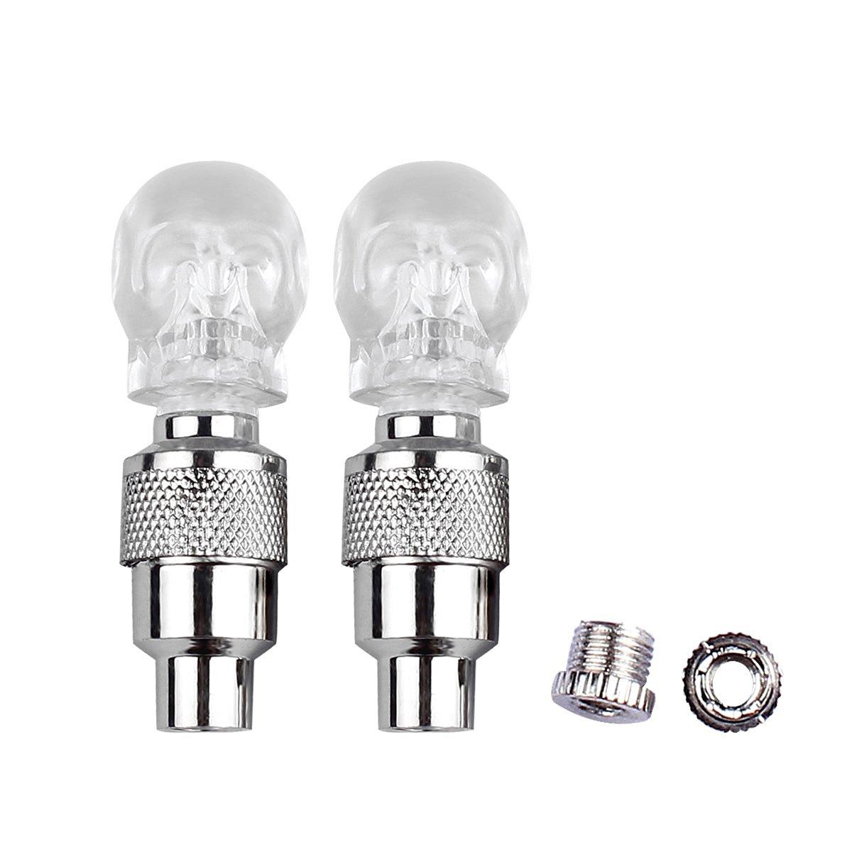 Ocathnon A Pair of Flashing LED Valve Cap Light Wheel Tyre Lamp Bulb For Car Vehicle Auto Trucks Motorcycle Bike Blue