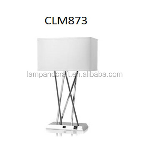 Factory custom plug metal table lamp with rectangle fabric shade cross USB for hotel decoration wholesale
