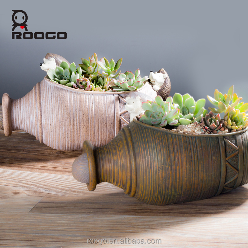 Roogo resin antique stone concrete pot mold ceramics terracotta vase shape flower pots