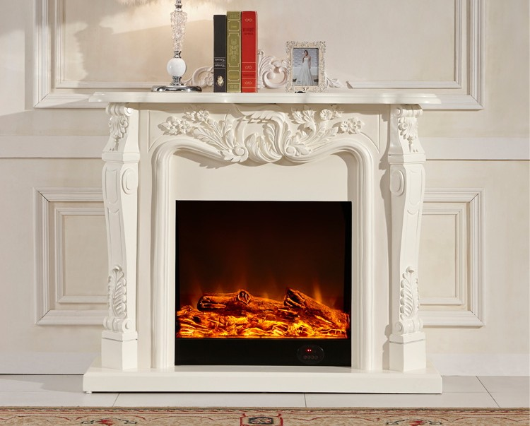 Ivory White Antique Decor Flame Electric Fireplace And ...