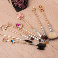 Wholesale and Cheap Wood Fan Brushes 8 piece Gold Makeup Brush Set With Pink Bag