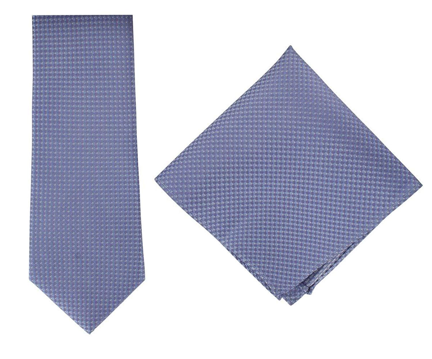 Michelsons of London Mens Textured Geo Silk Tie and Pocket Square Set - Blue