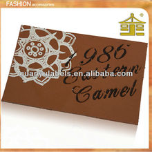 Manufacturer in guangzhou pu jeans design custom embossed leather label fake leather patch for garment