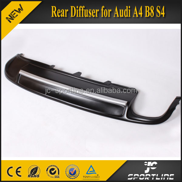 A4 B8 S4 Rear Diffuser for Audi (Dual Exhaust Single Outlet) with Silver Painting