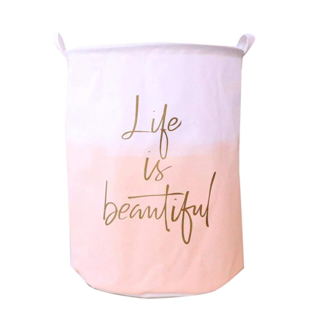 Hechun Dirty Clothes Basket Color Gradient Waterproof Canvas Sheets Laundry Basket Folding Box Home Storage (B)