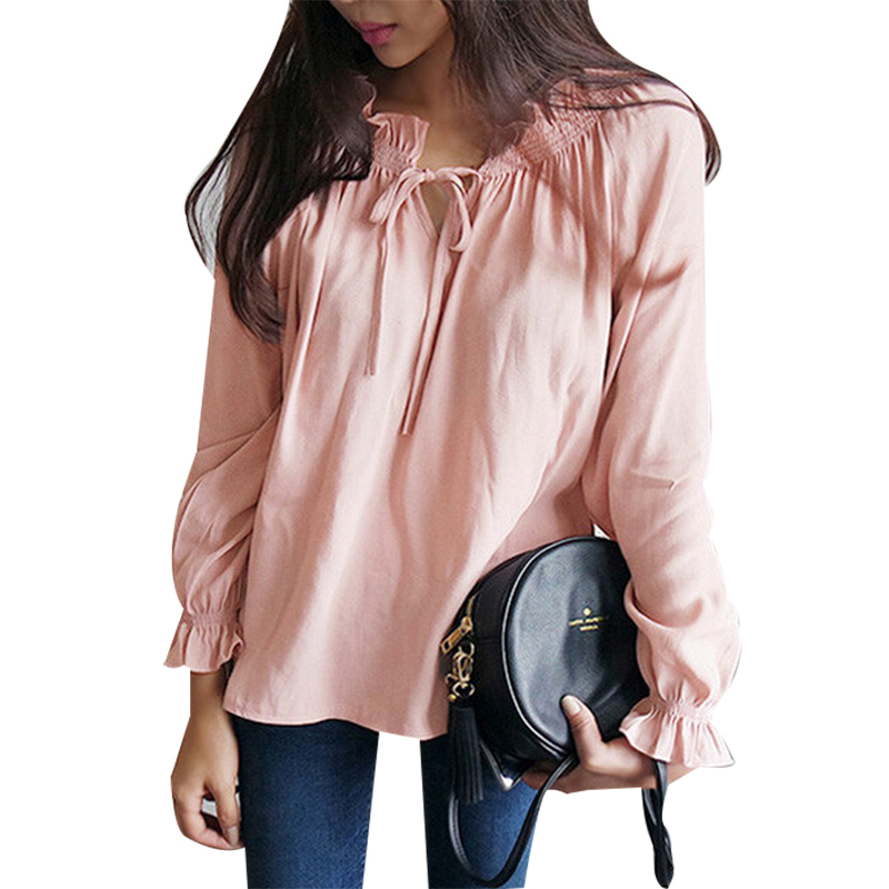 742cb3511e343b Get Quotations · Stylish Cozy Autumn Pink Smocked Peasant Blouse Ruffled Long  Sleeve Tie-Front Keyhole Neckline Feminie
