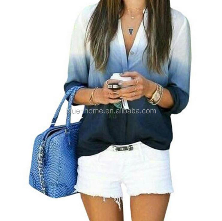 2019 latest design women blouse Gradient v neck shirt autumn casual lady tops, Pink;blue