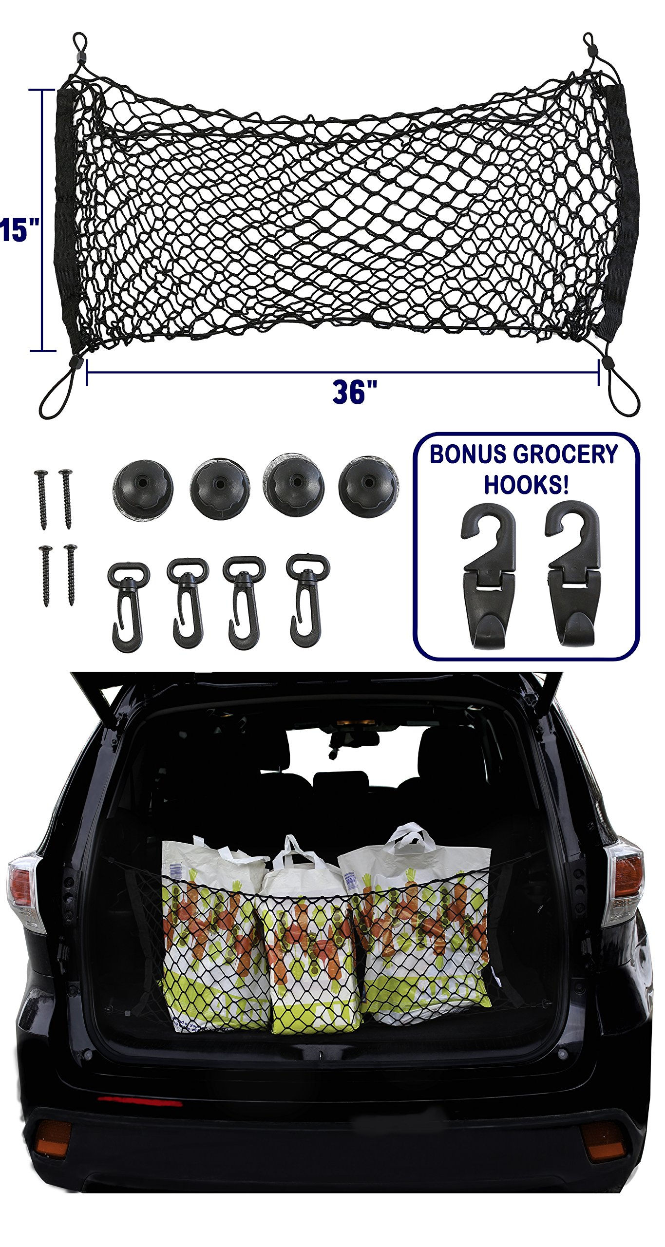 AutoWren 2014 2015 2016 2017 2018 Toyota Highlander Premium Trunk Cargo Net, Mesh Storage Net Organizer and BONUS Headrest Hanger Storage Hooks for Groceries, Purses