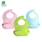BPA Free Waterproof Silicone Baby Bib With with Food Catcher Baby Silicone Bibs Wholesale