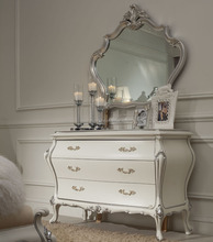 SM05 antique mirror glass antique dressing table with mirror and stool antique gold leaf frame wall mirror