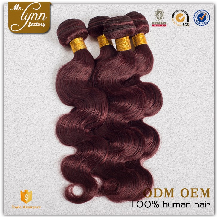 2016 hot sell remy hair weaving 99j