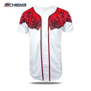 Wholesale 100% Polyester Rose Flower Baseball Jerseys 6902fc9ae03f