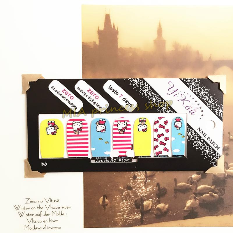 Pink Yellow Cat Child Nail Arts Nail Sticker Waterproof Nail Decal Sticker Gel Polish French Manicure