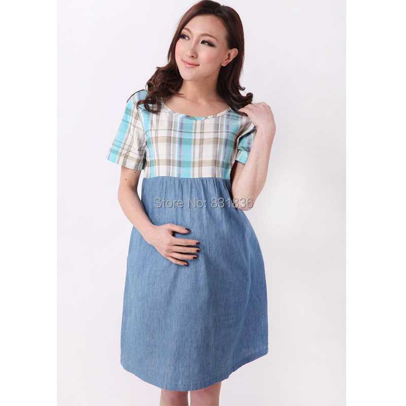 Summer Pregnant Womens Plus Size Dress Casual Maternity Dress Plaid  Patchwork Denim Pregnancy Tops Maternity Clothes D354