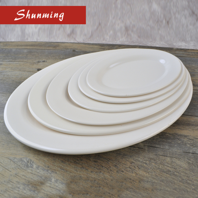 High quality white oval shape melamine plastic dinnerware dinner plate : quality plastic dinnerware - pezcame.com