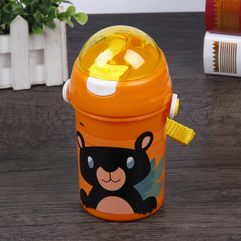 Fashion PP lovely kid plastic water bottles drinking bottle with straw for children baby cheap
