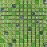 Green color glazed ceramic mosaic tiles swimming pool tile (23065)