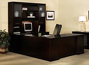 "Mayline U Shaped Desk W/Hutch Overall Footprint: 72"" X 102"" X 72"" Desk: 72""W X 30""D X 29 1/2""H, Bridge: 48"" X 20"", Credenza: 72""W X 24"" - Espresso - Bridge on Right (Shown)"