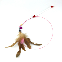 110cm Pet cat toy Cute Design Steel Wire Feather Teaser Wand Plastic Toy for cats