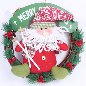 Christmas Rattan Wreath Hanger Welcome Door Wreath Santa Snowman