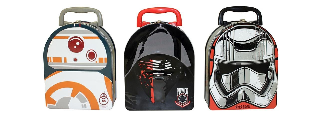 Star Wars EP7 Arch Shape Tin Box with Handle Bundle: (BB-8, Capt. Phasma and Kylo Ren) 3 items. 1 of each style