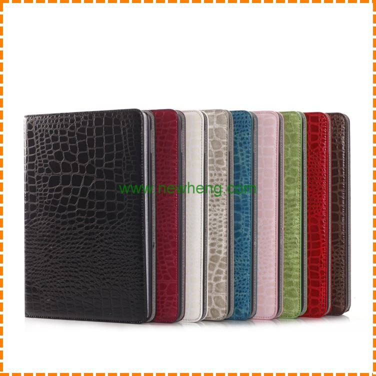 for iPad air 2 cover Crocodile leather wallet , for ipad air 2 PU leather case