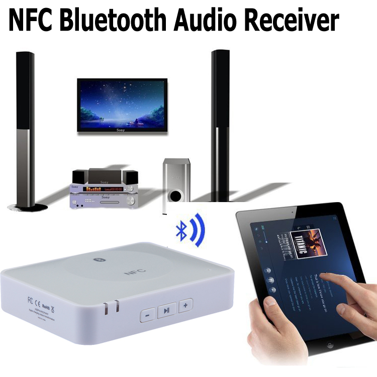 nfc wireless bluetooth audio receiver musik adapter f r. Black Bedroom Furniture Sets. Home Design Ideas
