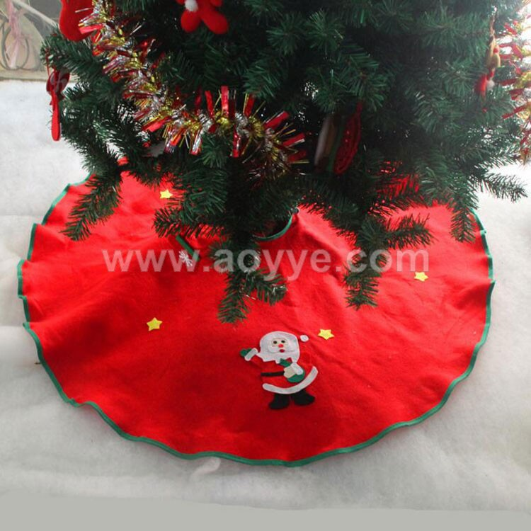 Wholesale promotional cheap red and green christmas tree decorations 90cm non-woven tree skirt