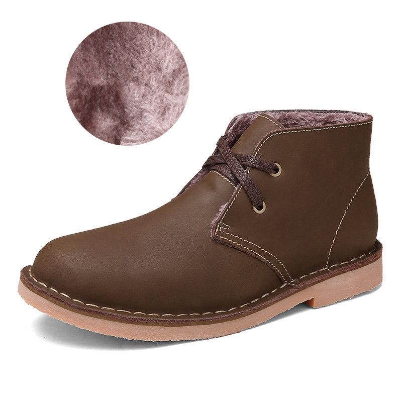 15334dce6 الشتاء الفراء الثلوج الرجال الأحذية عارضة الرجال جلد طبيعي أحذية الكاحل  للرجال شتاء 2016 zapatos hombre