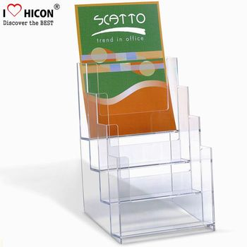 3-Layer Tabletop Acrylic Comic Book Display Holders For Retail Store, Clear Acrylic Magazine Holder