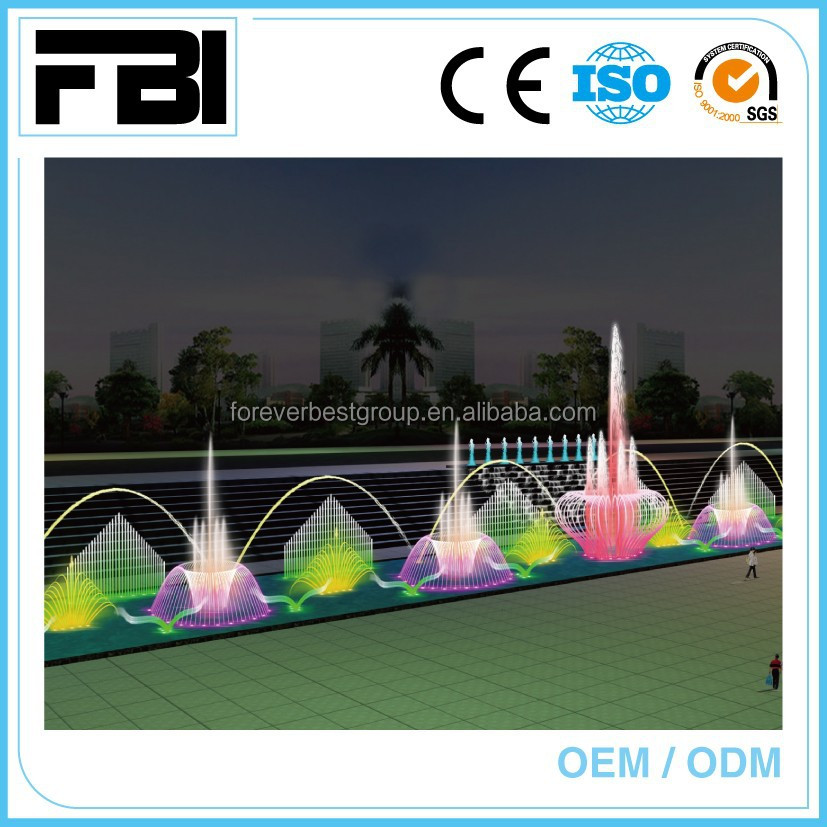 large dancing music fountain, shopping mall/park/lake fountain, fuente