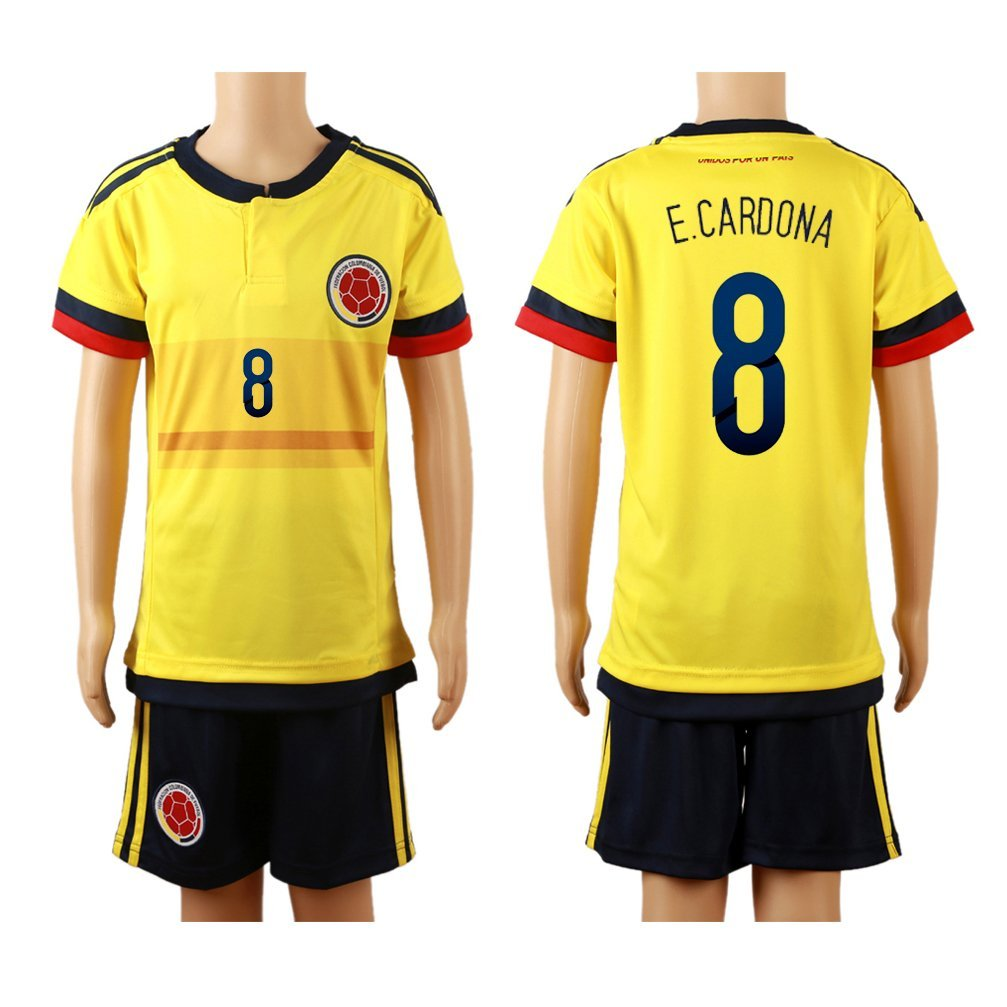 get quotations  2015 16 colombia yellow home 8 edwin cardona football soccer kids jersey