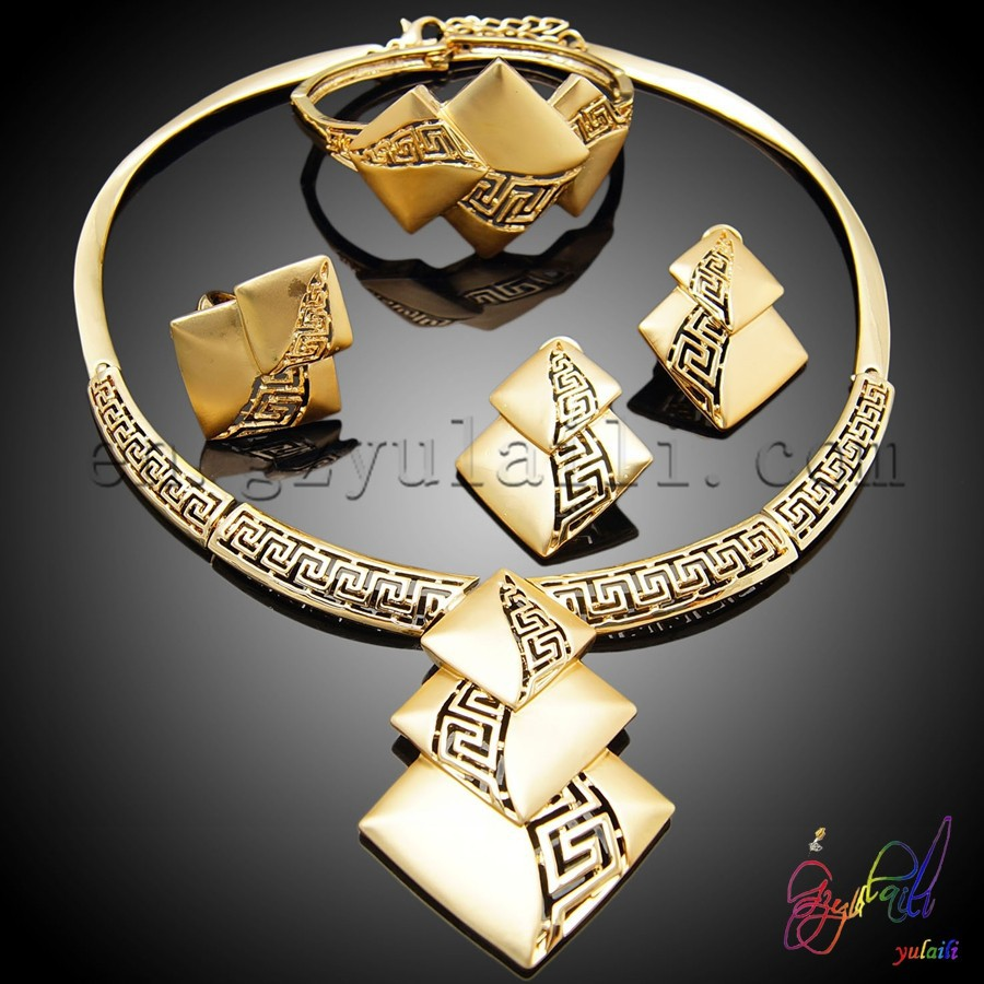 Indian New Designs Modern 24 K Gold Plated Plated Fashion Jewelry
